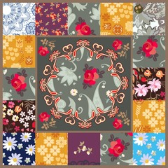 Patchwork pattern with stylized mandala and patchs with various flowers. Pillowcase, scarf, rug, greeting or invitation card. Vector summer design.