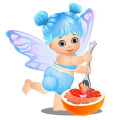 A little happy girl with blue hair and fairy wings eats grapefruit with a spoon isolated on white background. Vector cartoon close-up illustration.