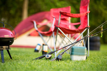 Camping backgrounds with copy space.