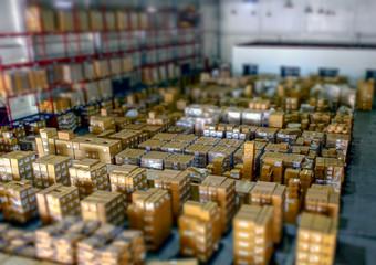 物流倉庫のチルトシフトイメージ