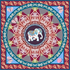 Beautiful square blanket in ethnic style with mandala flower, funny elephant and paisley border in vector. Indian, thai motives. Ethnic style.