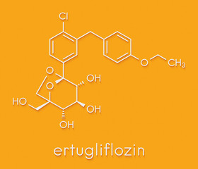 Ertugliflozin diabetes drug molecule. Skeletal formula.