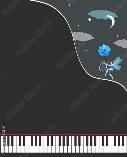 unusual template for musical poster an open black grand piano and
