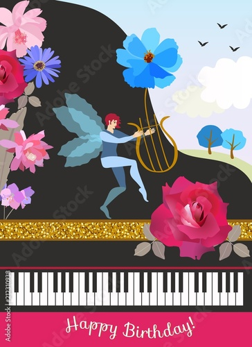 Happy Birthday Greeting Card In Vintage Style Black Grand Piano Winged Elf With Lire Shape Of Cosmos Flower Spring Landscape And Beautiful Garden