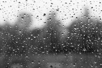 window glass in the rain drops