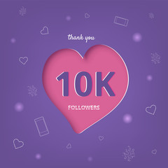 10K followers thank you post for social media. Vector illustration.