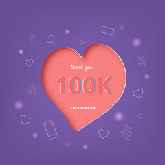 100K followers thank you post for social media. Vector illustration.