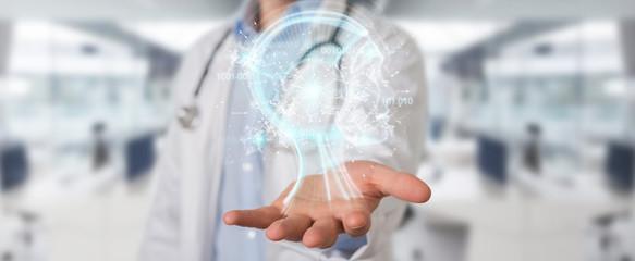 Doctor using digital artificial intelligence interface 3D rendering