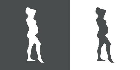 Icono plano silueta mujer desnuda embarazada de pie en gris y blanco