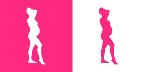 Icono plano silueta mujer desnuda embarazada de pie en rosa y blanco