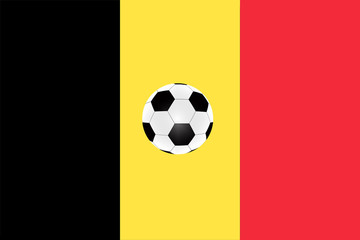 soccer ball on the background of the flag of Belgium
