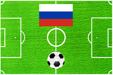 Russian flag on the background of a football field