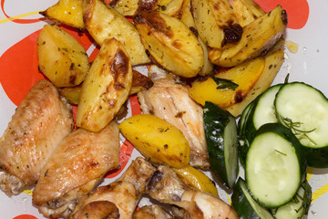 chicken wings with potatoes in the oven