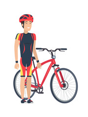 Bicycle and Man with Helmet Vector Illustration