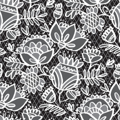 Peasant style black and white floral swatch.