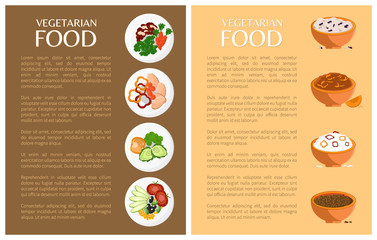 Vegetarian Food, Vector Banner, Icons Collection