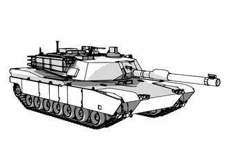 sketch of military tank vector art