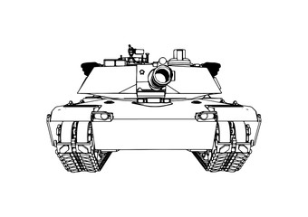 sketch of military tank vector art