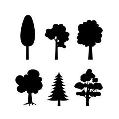 Black silhouettes of trees,isolated on white background