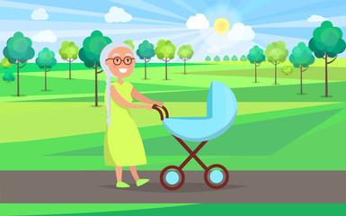 Senior Lady with Trolley Pram Walking in City Park