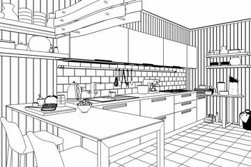 Meine Küche in Rot (Skizze)