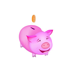 A money box pig in color with coin smiling and happy