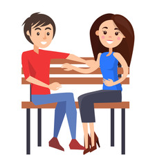 Young Couple Sits on Wooden Bench Illustration