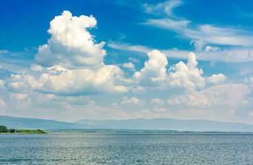 gorgeous cloudscape over the Zemplinska Sirava. beautiful and calm scenery of one of the largest Slovakian body of water
