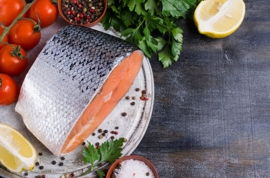 Slice of raw salmon in scales