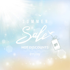 Summer sale lettering on blue summer beach background. Vector illustration EPS10