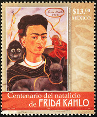 Frida Kahlo self-portrait on mexican postage stamp