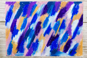 Photo of hand drawing. Colorful texture for background. Oil pastel drawing