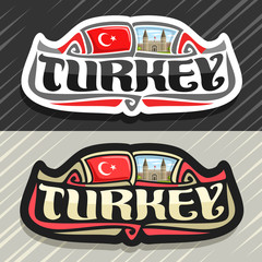 Vector logo for Turkey country, fridge magnet with turkish state flag, original brush typeface for word turkey and national turkish symbol - Topkapi palace in Istanbul on blue cloudy sky  background.