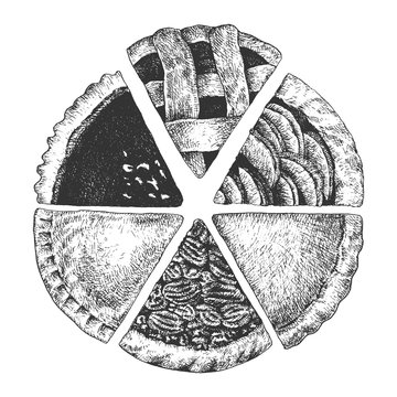 Hand drawn pies. Top view homemade a piece of sliced apple, chicken, yam, chocolate, pumpkin and pecan pies.