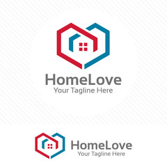 Home love logo, property and real estate concept with love symbol.