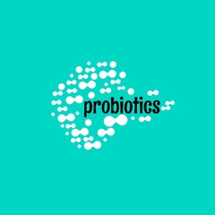 Probiotics logo. Concept of healthy nutrition ingredient for therapeutic purposes. simple flat style trend modern logotype graphic design isolated