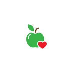 Green apple with red heart icon. Flat pictogram isolated on white. Vector illustration. Healthy food logo.