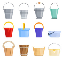 Set of different iron, plastic and wooden buckets of different shapes. Vector illustration.