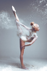 Printed roller blinds People Dancing in flour concept. Redhead woman dancer in dust / fog. Girl wearing white top and shorts making dance element in flour cloud on isolated background