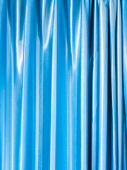 Bright and shiny blue color of curtain