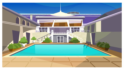 Country house with swimming pool vector illustration. Modern fashionable property facade with stairs. Holiday house illustration