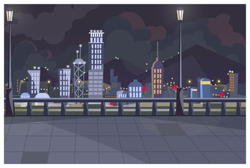Dark cityscape with switched on lights vector illustration. City sidewalk with street lights. Large settlement illustration