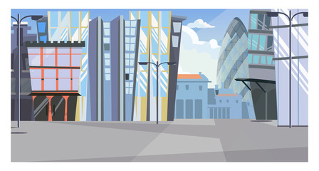 Urban cityscape with tall buildings vector illustration. Modern city street with office buildings and street lights. Exterior illustration