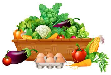 Various vegetables in a basket