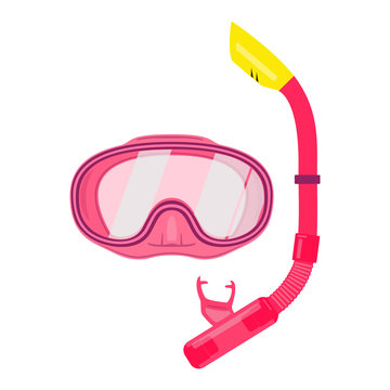 Collection for scuba diving or snorkeling. Scuba mask, snorkel. Abstract concept, red color, set of icons. Vector illustration on white background.