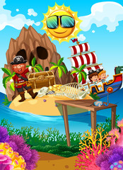 Pirate on an Island with treasure