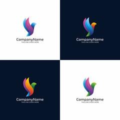 3D modern Bird logo