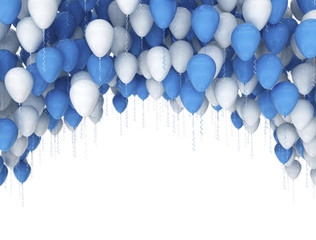 Blue and white balloons, illustration