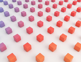 Multicoloured cubes, illustration