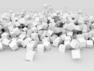 White cubes, illustration